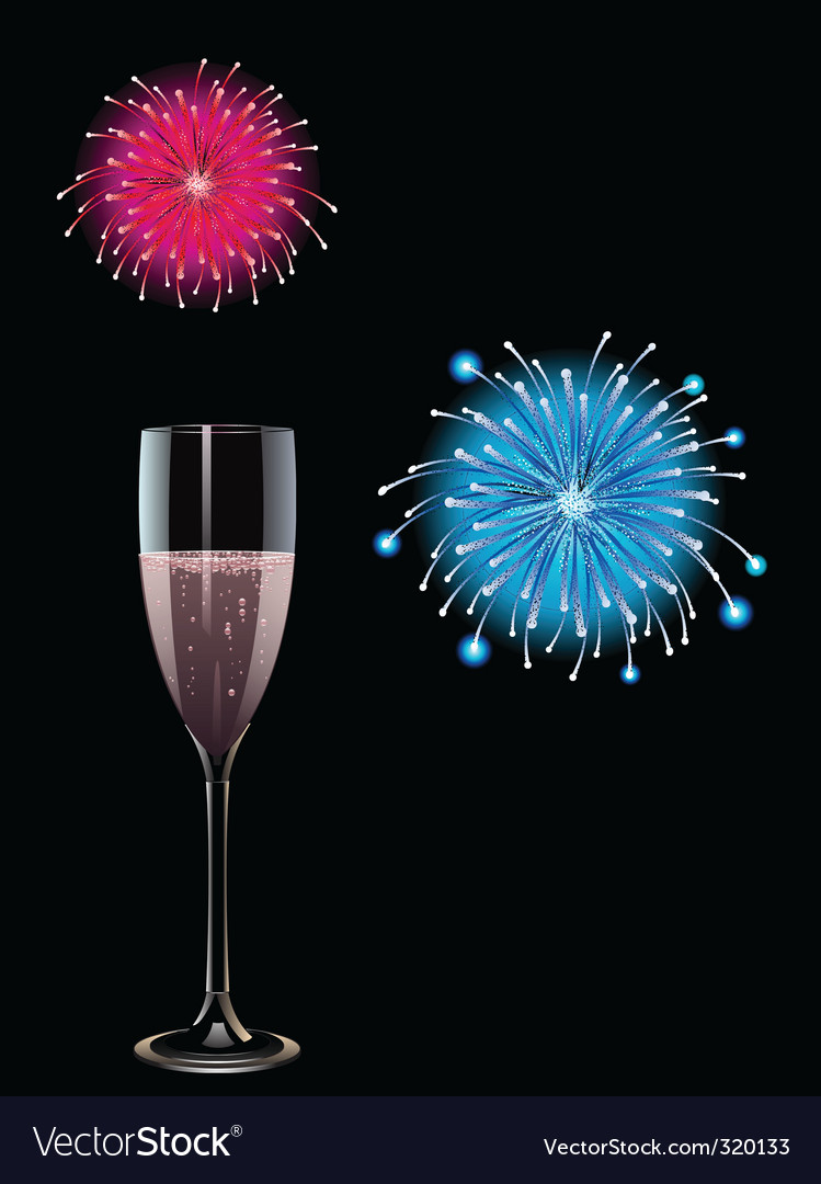 Champagne and fireworks vector | Price: 1 Credit (USD $1)