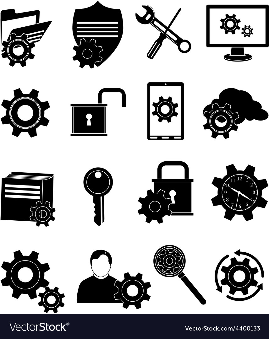 Data protection icons set vector | Price: 1 Credit (USD $1)