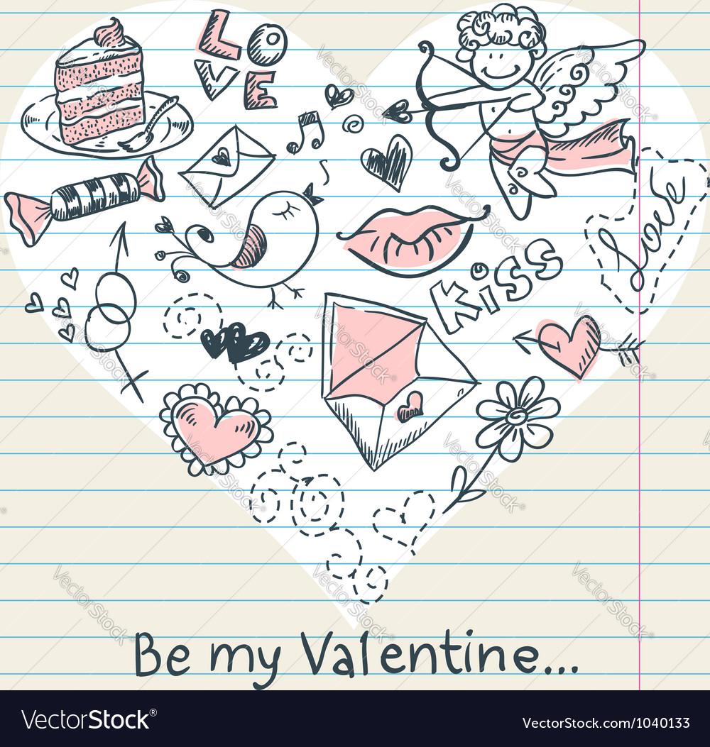 Doodle valentines day scrapbook love postcard vector | Price: 1 Credit (USD $1)