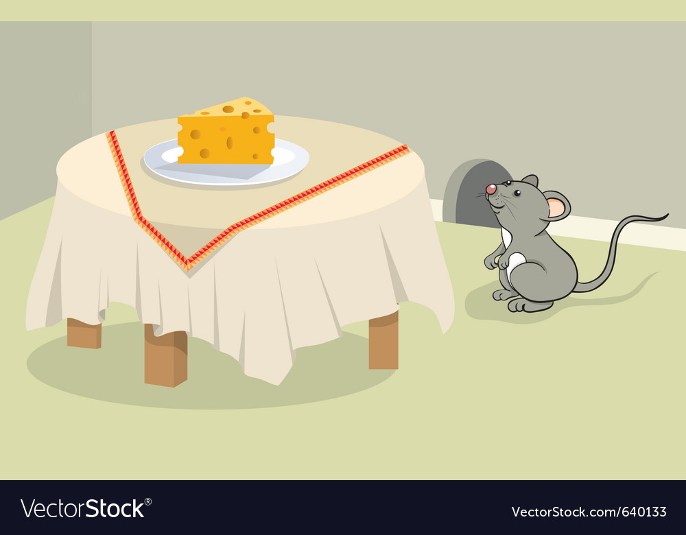 Funny mouse and cheese vector | Price: 3 Credit (USD $3)
