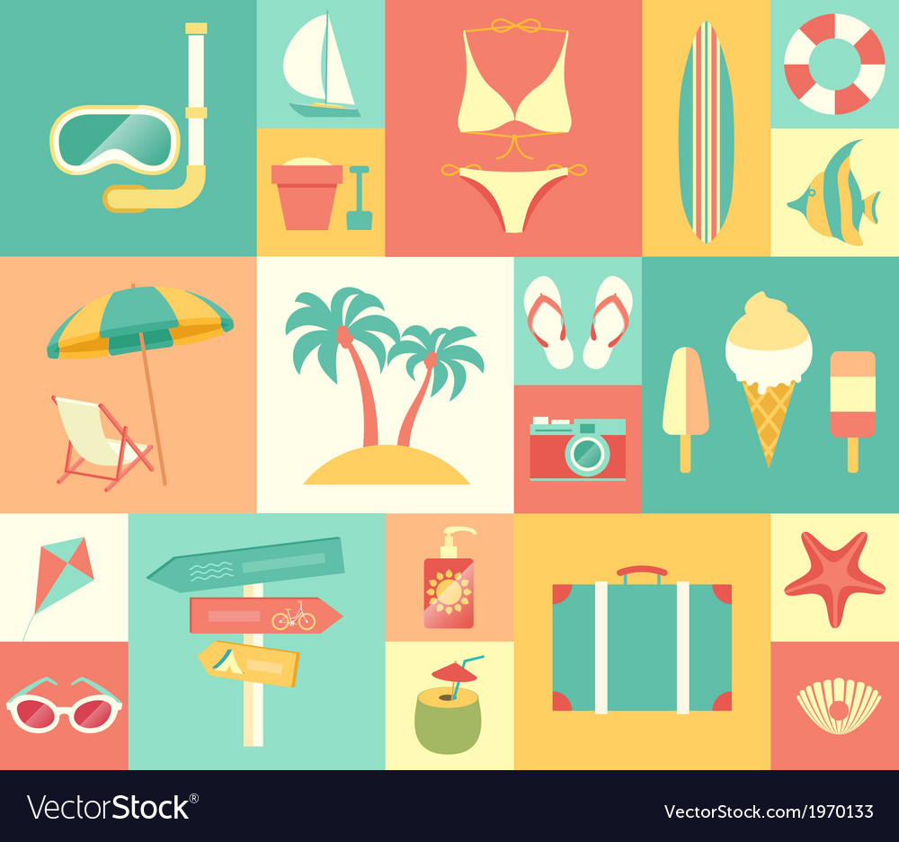 Icons summer vector | Price: 1 Credit (USD $1)