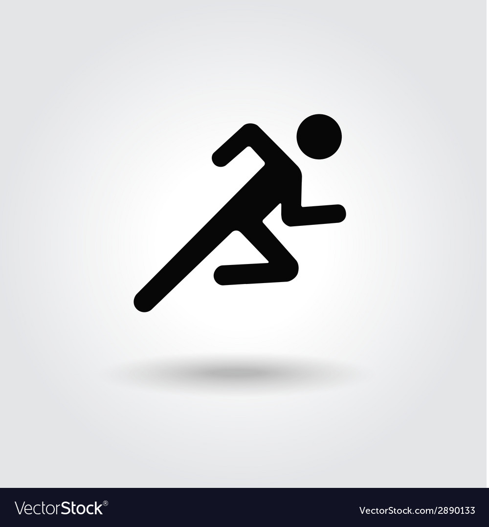 Running man icon white black silhouette vector | Price: 1 Credit (USD $1)