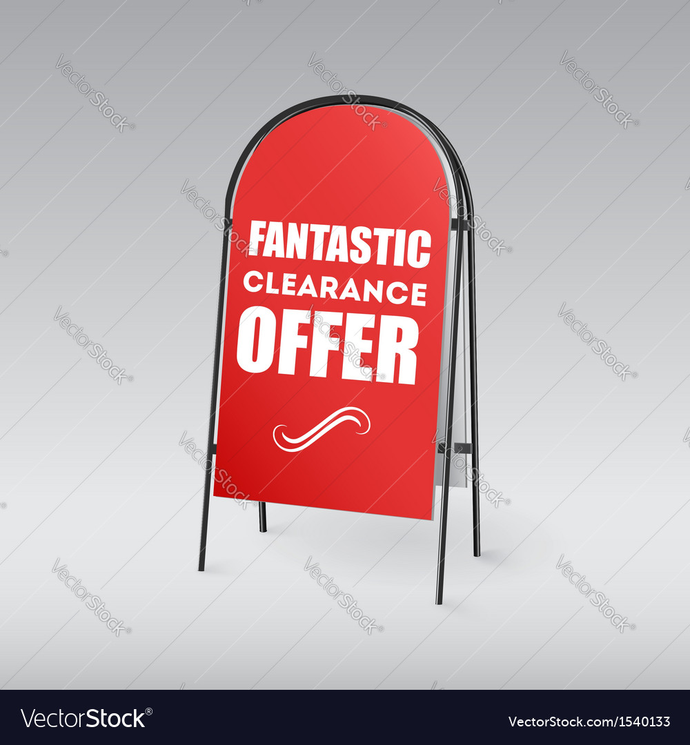 Sandwich board with an inscription on a red vector | Price: 1 Credit (USD $1)