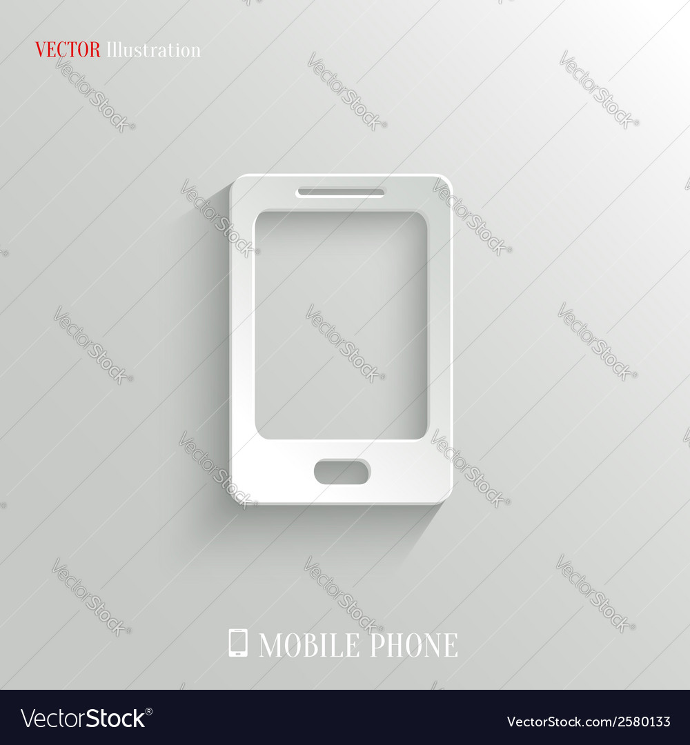 Smartphone icon  white app button vector