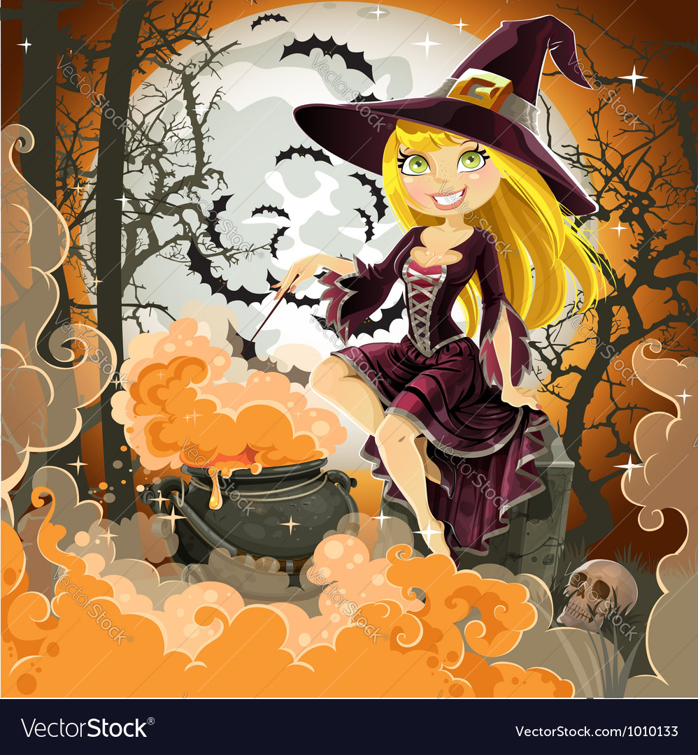 Witch with potion in the pot sits in the cemetery vector | Price: 5 Credit (USD $5)