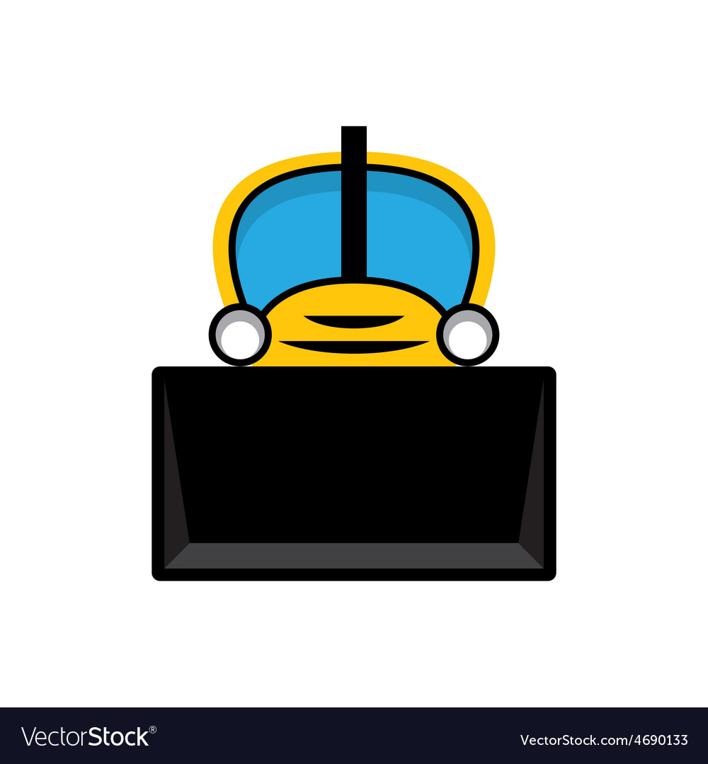 Yellow toy tractor icon vector | Price: 1 Credit (USD $1)