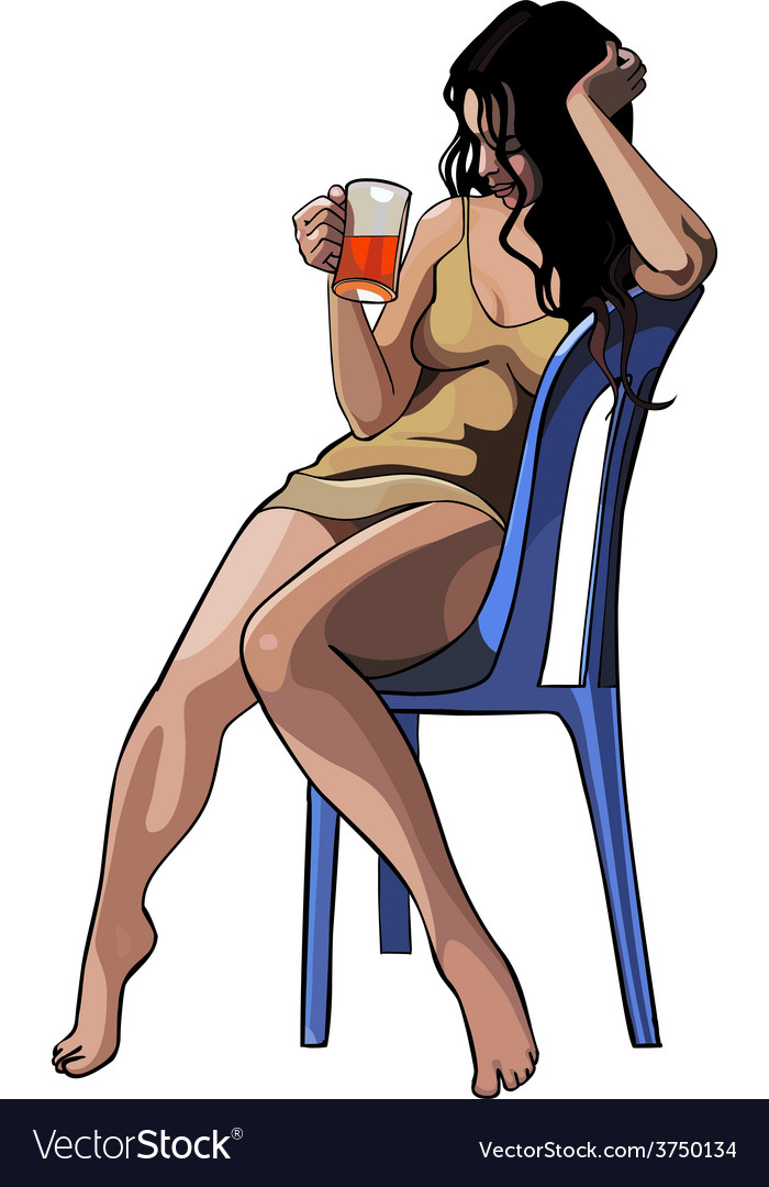 Beautiful girl with a glass sitting on a chair vector | Price: 1 Credit (USD $1)