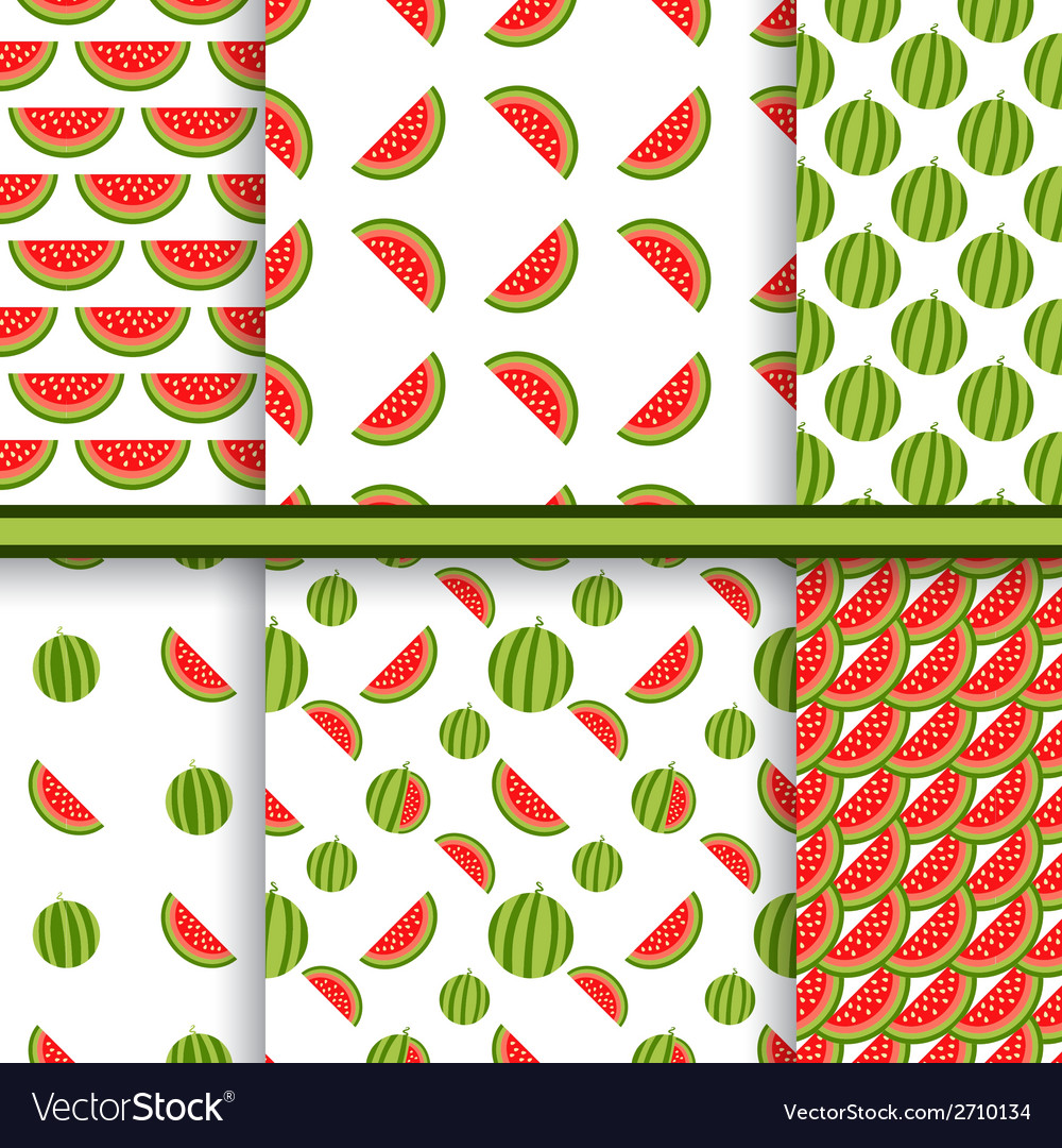 Bright set of seamless patterns with watermelons - vector | Price: 1 Credit (USD $1)