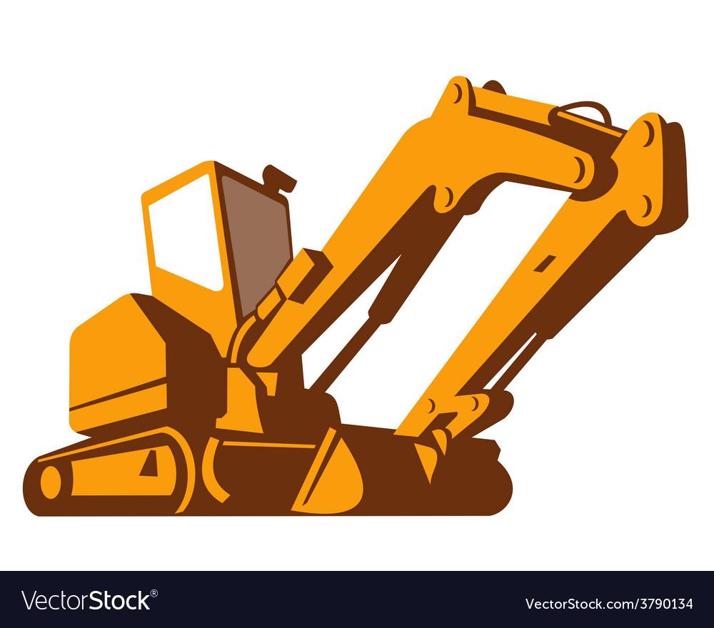 Bulldozer front retro vector | Price: 1 Credit (USD $1)