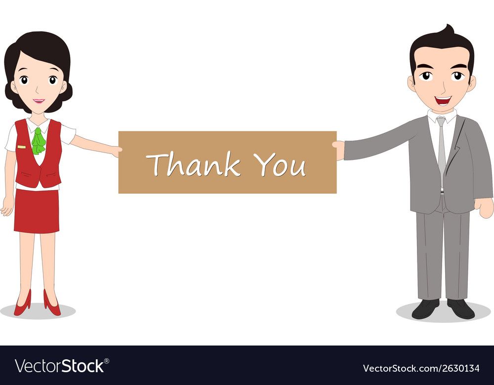 Businessman and businesswomen holding thank you vector | Price: 1 Credit (USD $1)