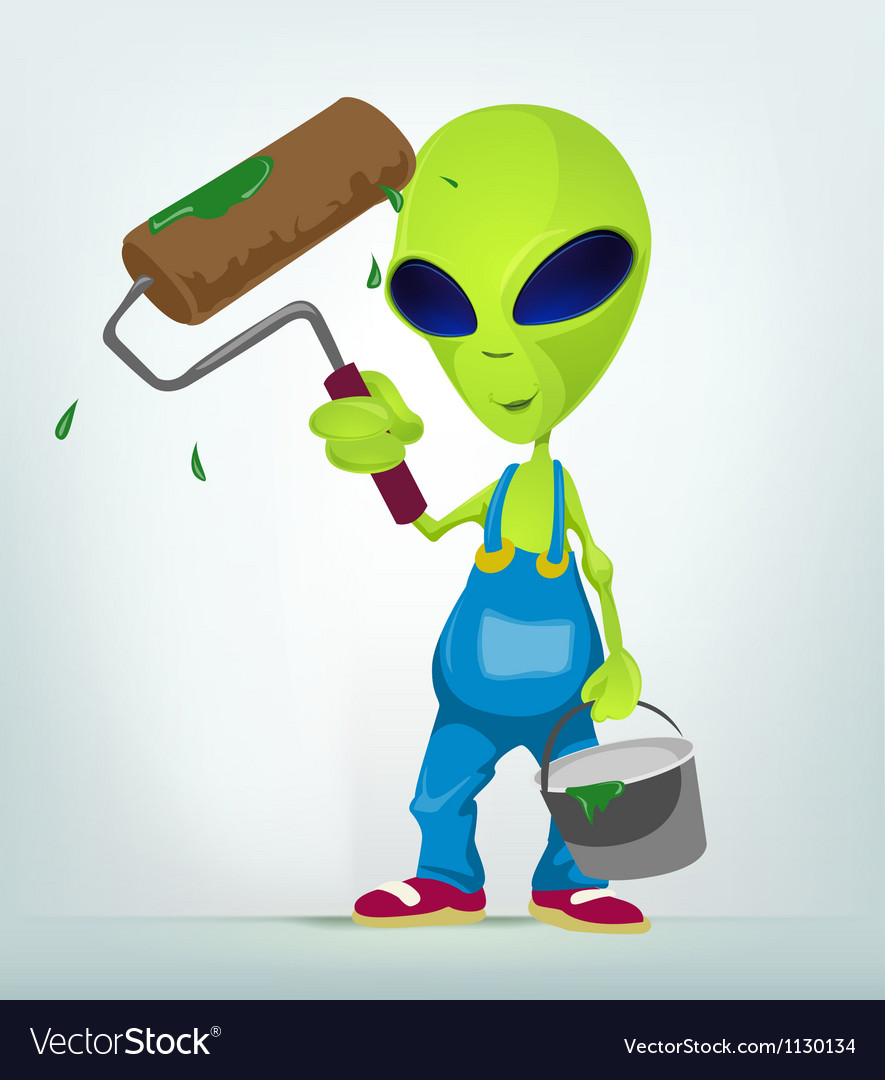 Cartoon painter alien vector | Price: 1 Credit (USD $1)