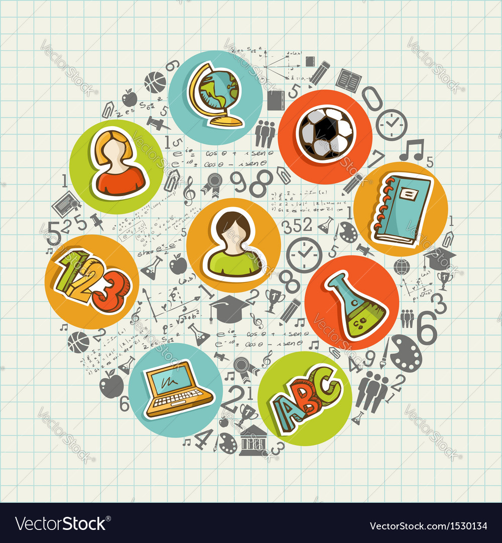 Education back to school colorful social icons vector | Price: 1 Credit (USD $1)