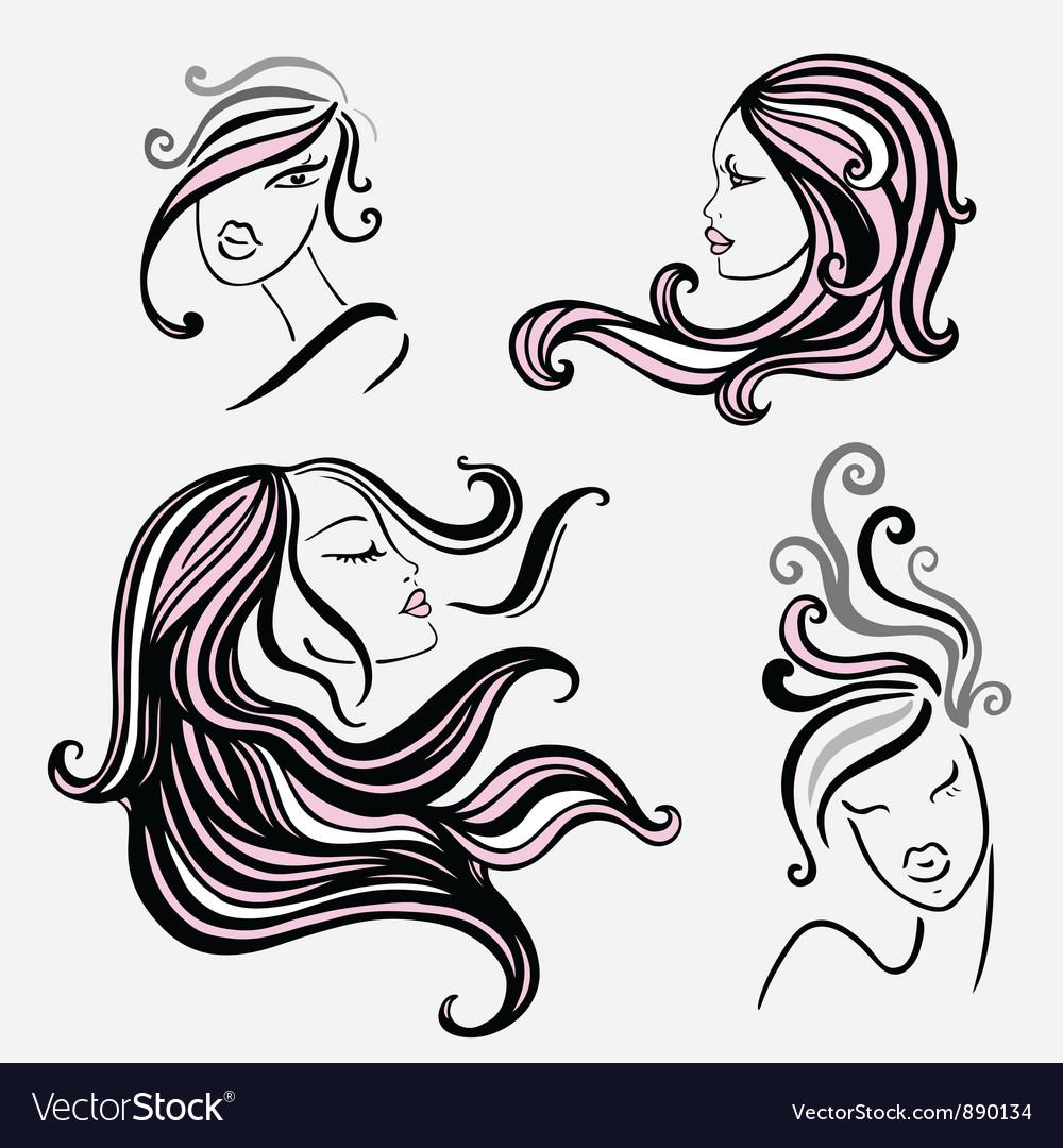 Four beautiful women vector | Price: 1 Credit (USD $1)