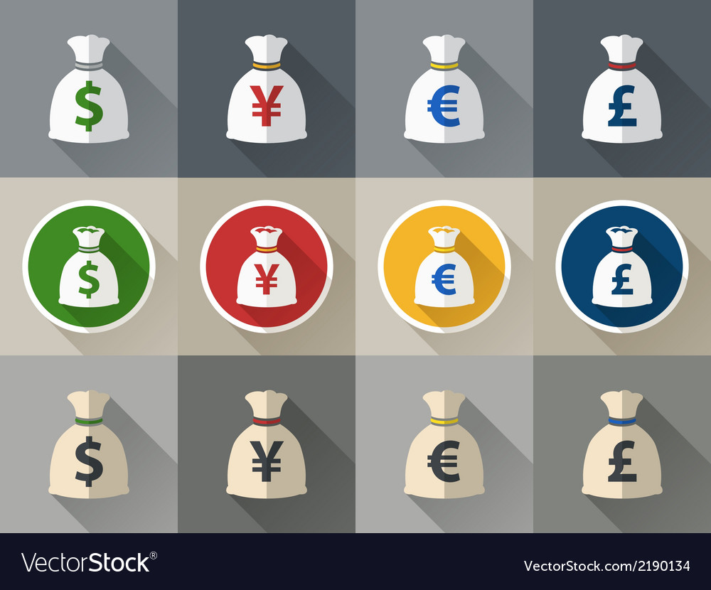 Money bag icon set with currency symbol vector | Price: 1 Credit (USD $1)