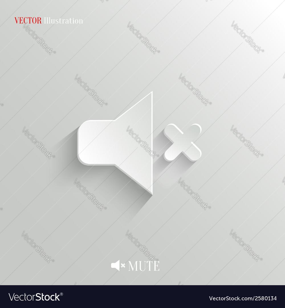 Mute icon - white app button vector | Price: 1 Credit (USD $1)