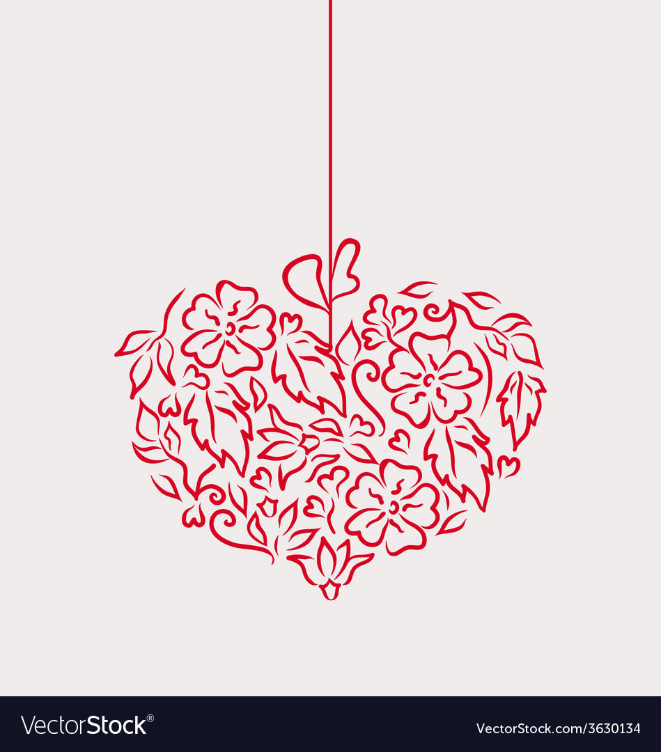 Ornamental heart in hand drawn style for valentine vector | Price: 1 Credit (USD $1)