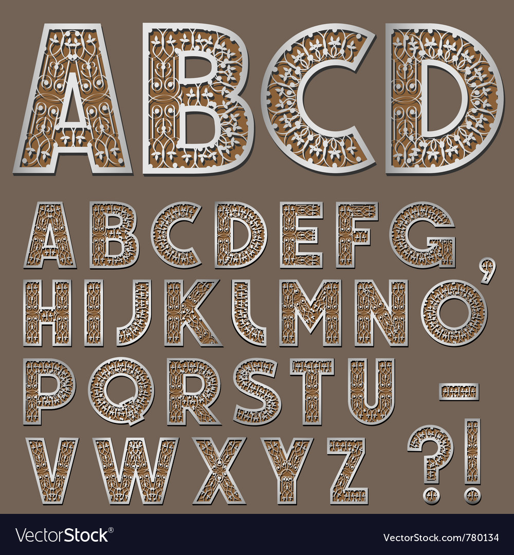 Silver swirly alphabet vector | Price: 1 Credit (USD $1)