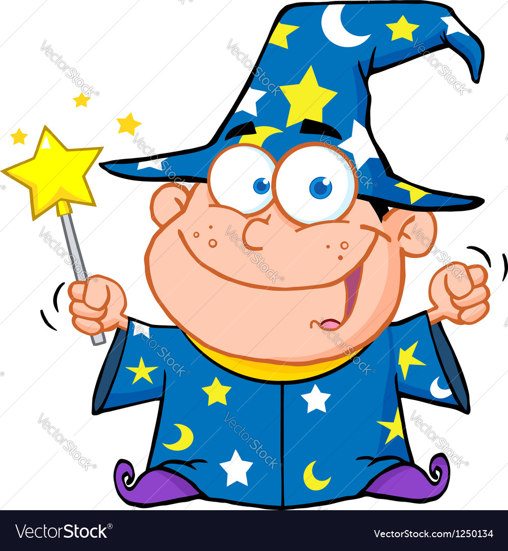 Wizard boy waving with magic wand vector | Price: 3 Credit (USD $3)
