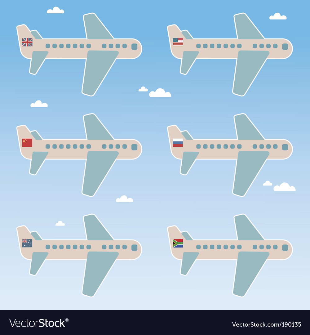Airplane flags vector | Price: 1 Credit (USD $1)