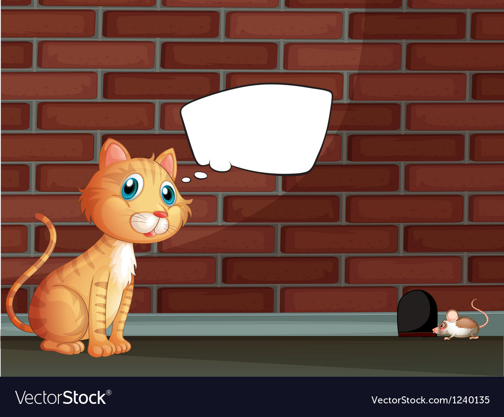 An orange cat with an empty callout vector | Price: 1 Credit (USD $1)
