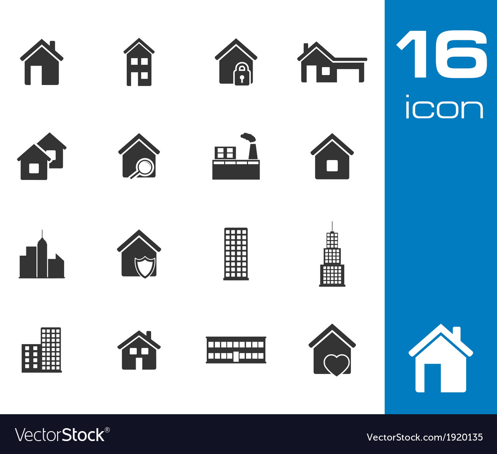 Black building icons set on white background vector | Price: 1 Credit (USD $1)
