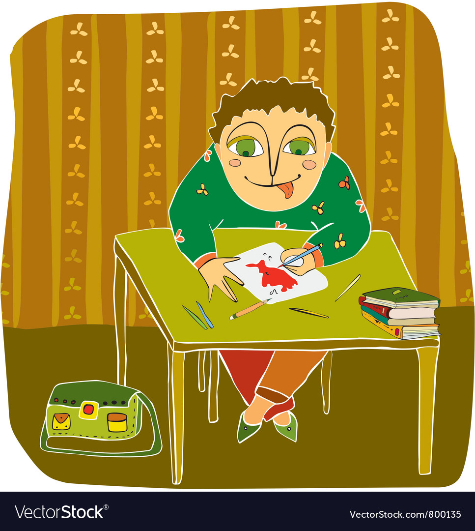 Boy drawing table room vector   Price: 3 Credit (USD $3)