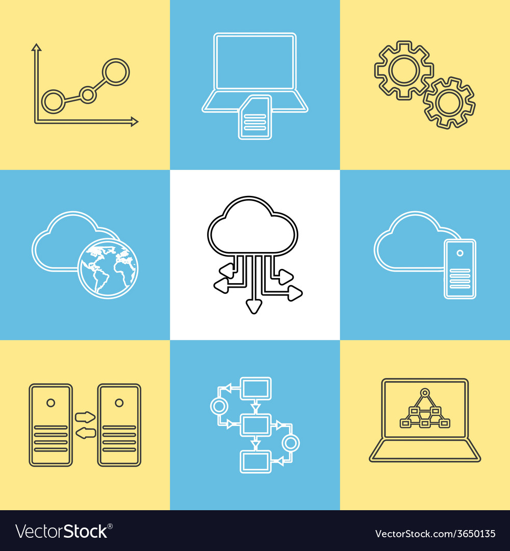 Data storage data analysis and transfer icons vector | Price: 1 Credit (USD $1)