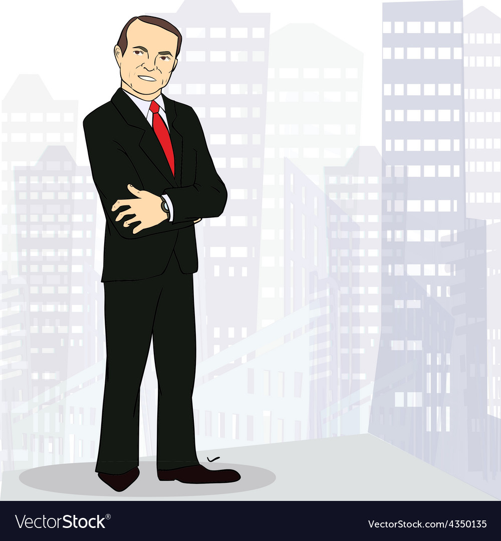 Experienced and confident businessman in big city vector | Price: 1 Credit (USD $1)