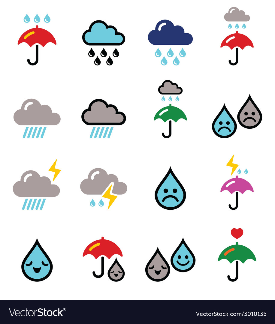 Rain thunderstorm heavy clouds buttons s vector | Price: 1 Credit (USD $1)