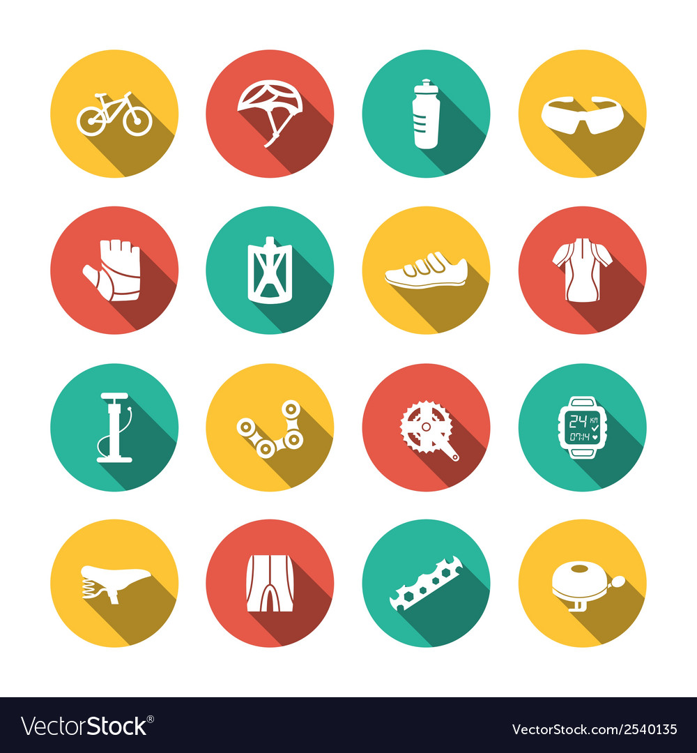 Set of biking icons vector | Price: 1 Credit (USD $1)