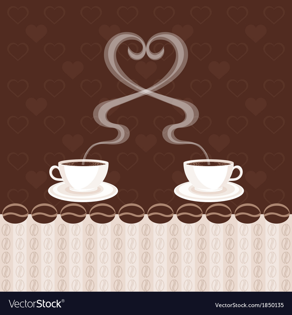 Two cups of coffee and steam heart vector | Price: 1 Credit (USD $1)