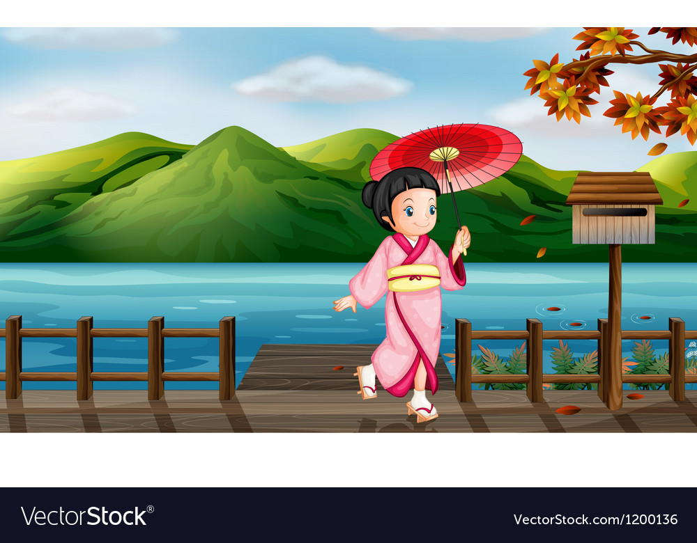 A girl with an umbrella beside the wooden mailbox vector | Price: 1 Credit (USD $1)