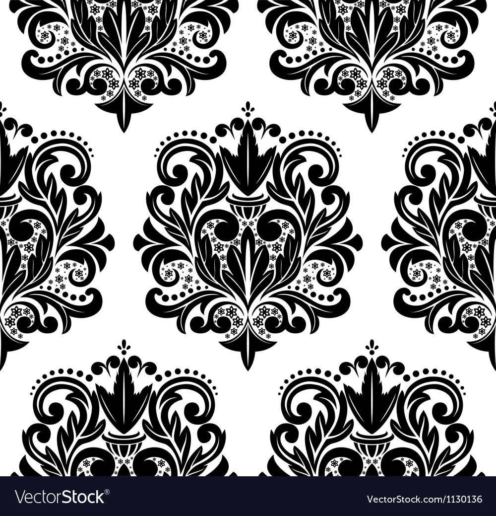 Beautiful seamless damask pattern vector | Price: 1 Credit (USD $1)