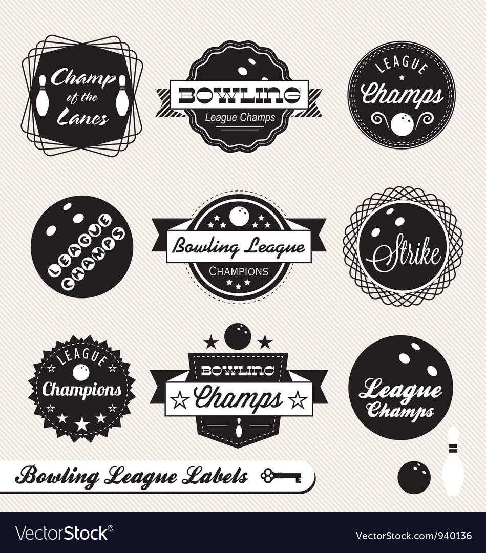 Bowling league champs labels vector | Price: 1 Credit (USD $1)