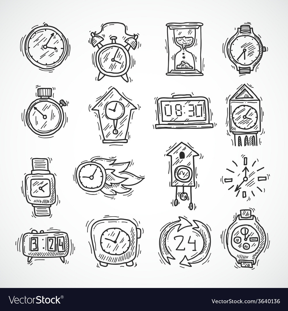 Clock icons set vector | Price: 1 Credit (USD $1)