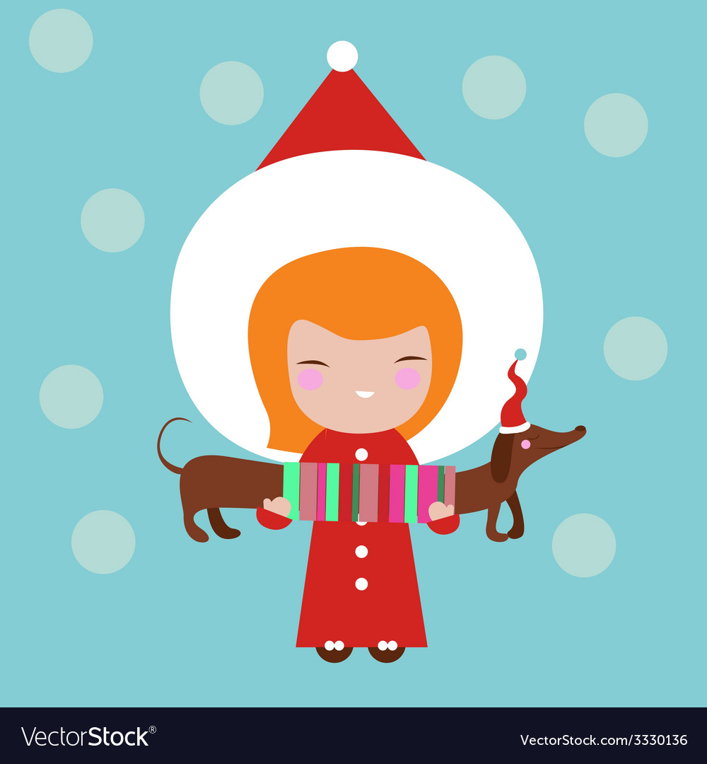 Cute girl with dog holiday vector | Price: 1 Credit (USD $1)