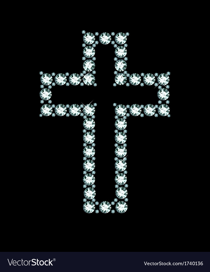 Diamond christian cross vector | Price: 1 Credit (USD $1)