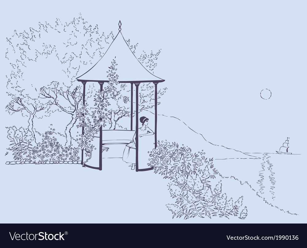 Girl in arbor in the garden vector | Price: 1 Credit (USD $1)
