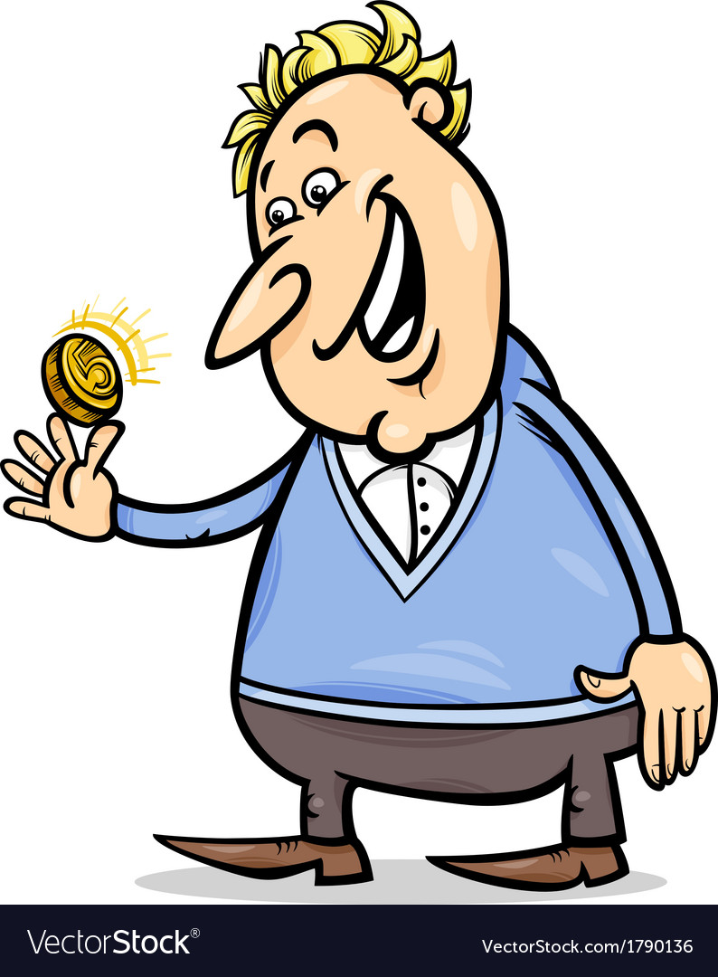 Lucky man with golden coin cartoon vector | Price: 1 Credit (USD $1)