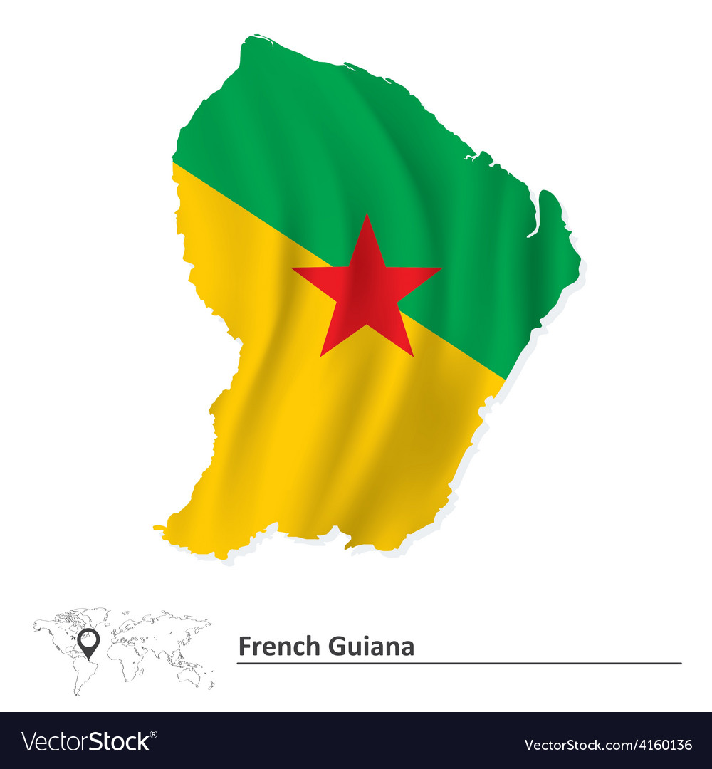 Map of french guiana with flag vector | Price: 1 Credit (USD $1)