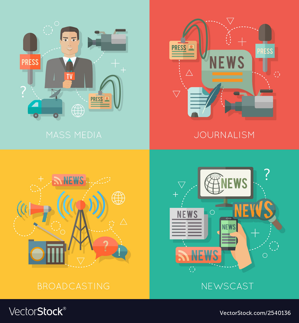 Mass media concept flat business composition vector | Price: 1 Credit (USD $1)