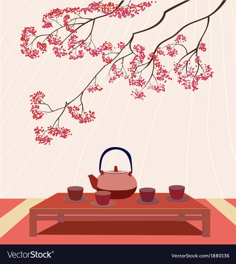 Sakura tea ceremony menu coffee vector | Price: 1 Credit (USD $1)