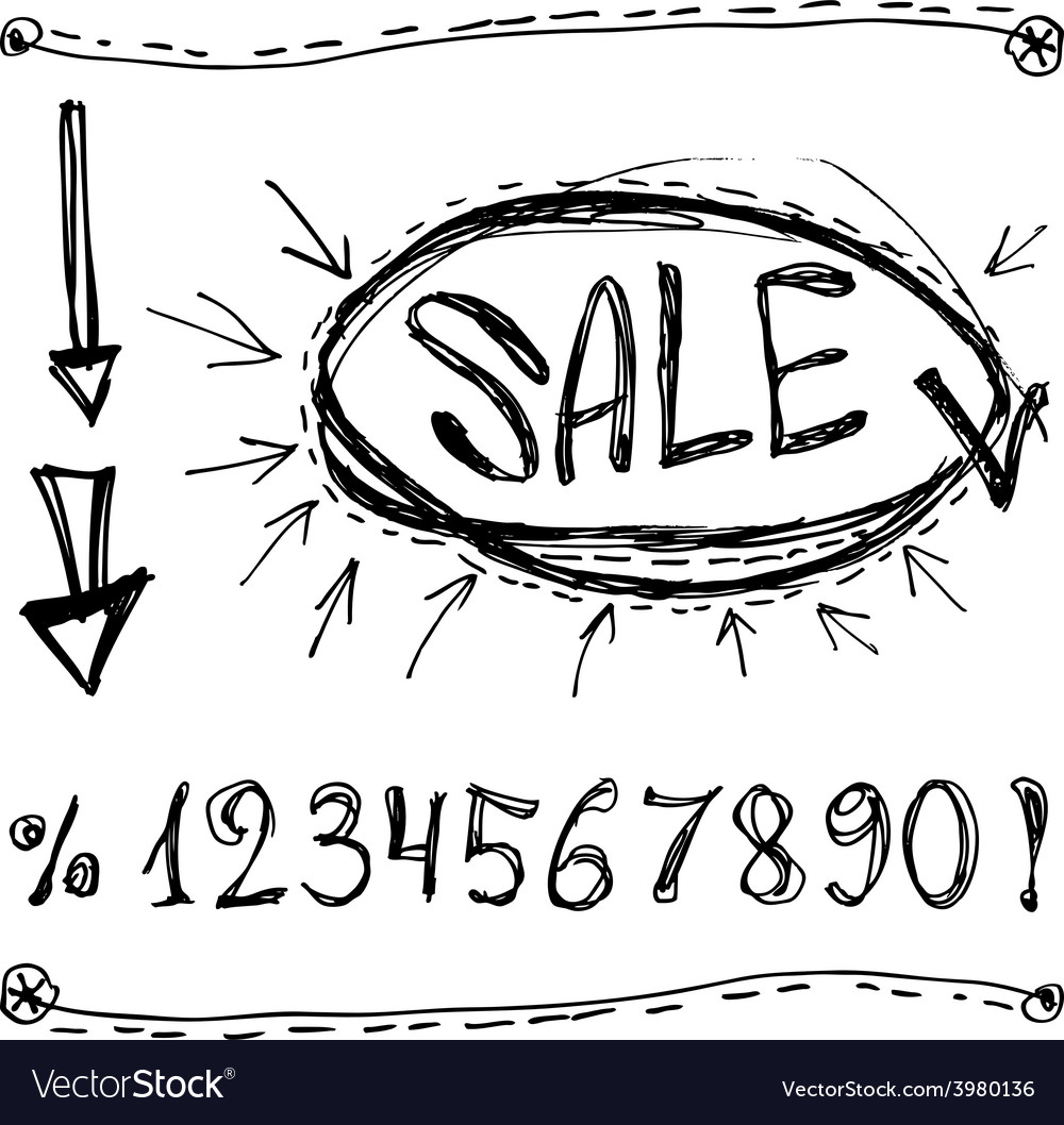 Sale numbers percentages arrows sketched on a vector | Price: 1 Credit (USD $1)