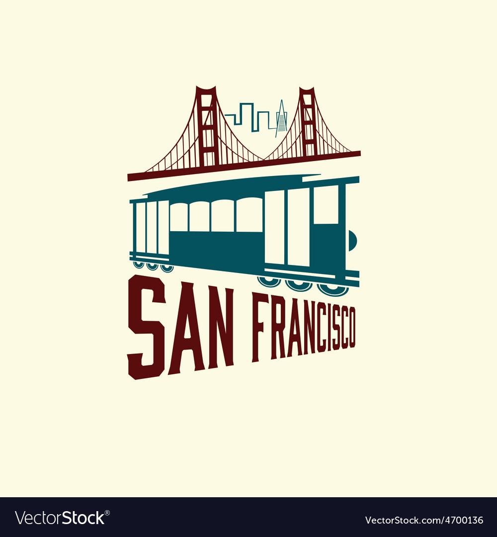 San francisco golden gate bridge and tram vector | Price: 1 Credit (USD $1)