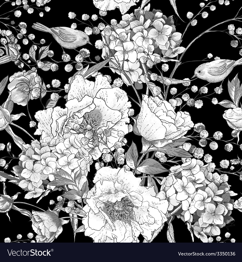 Seamless monochrome floral pattern with birds vector | Price: 1 Credit (USD $1)