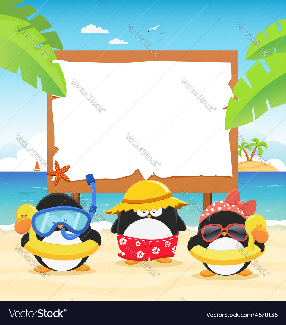 Summer penguins with billboard vector | Price: 3 Credit (USD $3)
