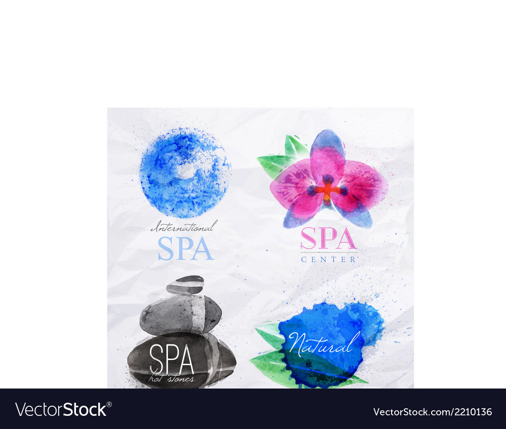 Symbols spa watercolor vector | Price: 1 Credit (USD $1)
