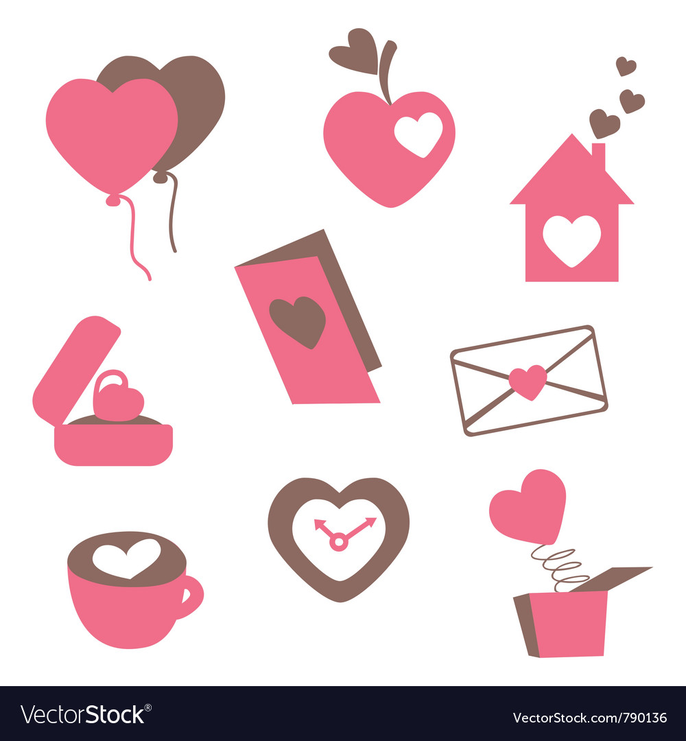 Valentines love icons vector | Price: 1 Credit (USD $1)