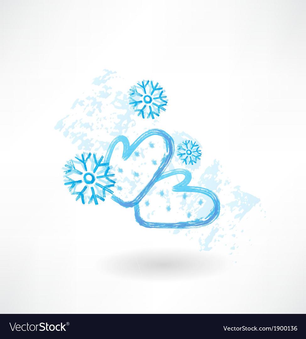 Winter mittens grunge icon vector | Price: 1 Credit (USD $1)