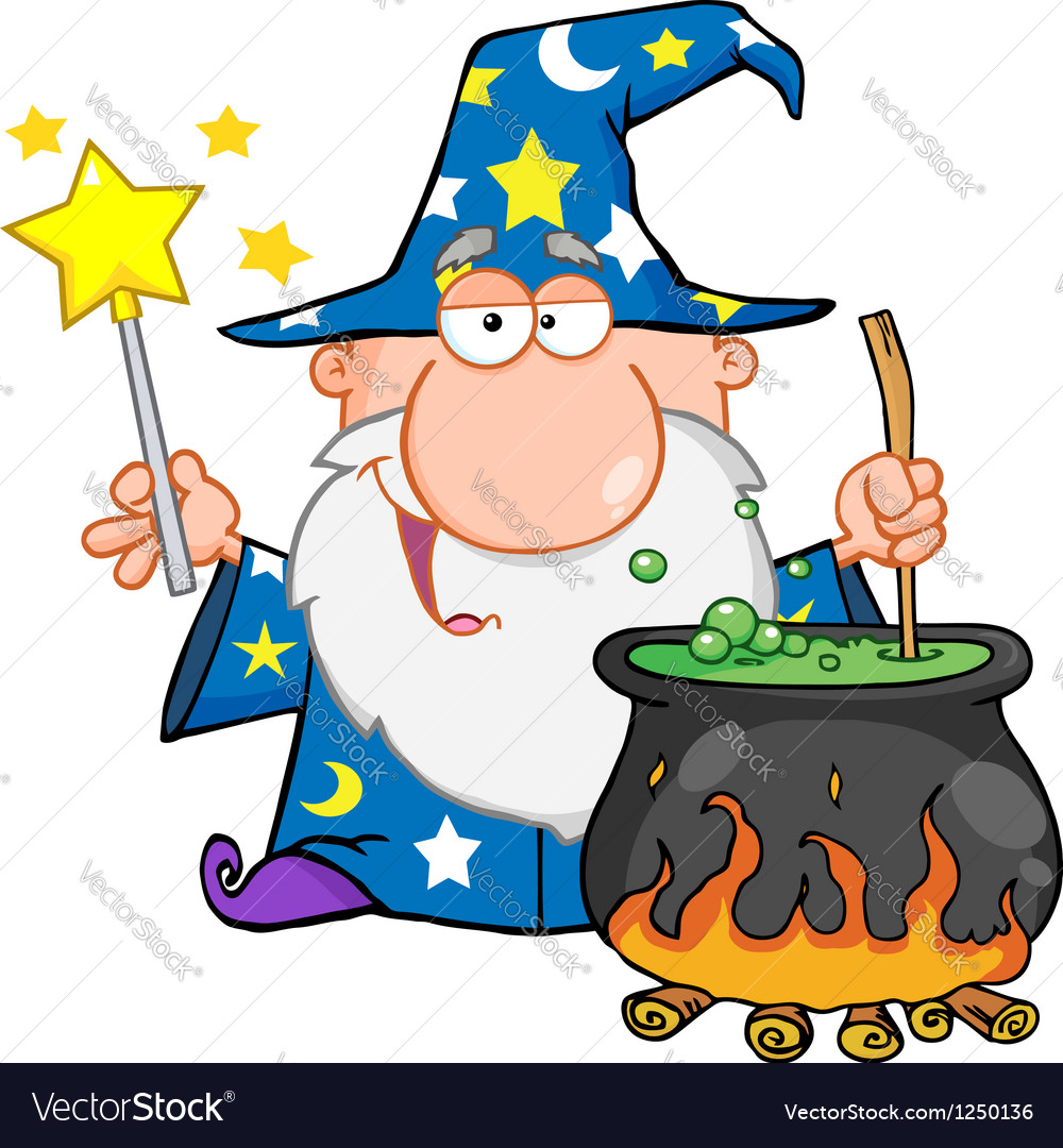 Wizard waving with magic wand and preparing a poti vector | Price: 3 Credit (USD $3)